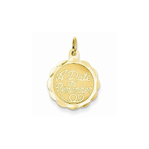 14KイエローゴールドA Date To Remember Engravable Charm