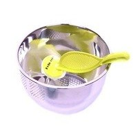 Hoho Com日本スタイルRice Washer & Quinoa Strainer統合Colander Rice Washer and Strainer (ランダム色) シルバー