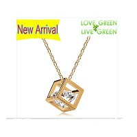 18k Gold Plated Big Real Zricon Love Cube Pendant Necklace Fashion Jewelry (gold-plated-base, 45...
