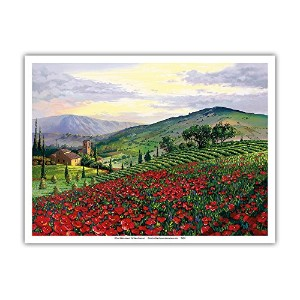 Timeless Tuscany–イタリア–Flowerfield of Poppies–From anオリジナルカラーペイントby Scott Westmoreland–...