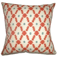 The Pillow Collection KING-D-42249-POPPY_RED-C100 Poppy Red Farlow Geometric Bedding Sham, King/20'...