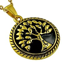 Stainless Steel Yellow Gold-Tone Tree of Life Pendant Necklace