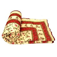 Red Jaipuri Lightweight Mugal Print Reversible Cotton Double Bed Quilt