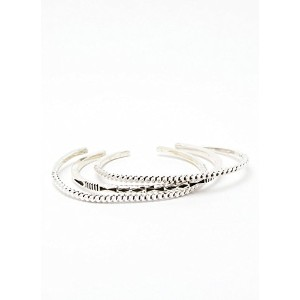 "INDIAN JEWELRY NAVAJO ""Jennifer Curtis"" 3in1 Stack Bracelets インディアンジュエリー ナバホ 3連バングル シルバー"