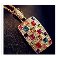 18K Gold Plated Unique Luxury Fashion Geometry Colorful Cystal Choker Clavicular Necklaces