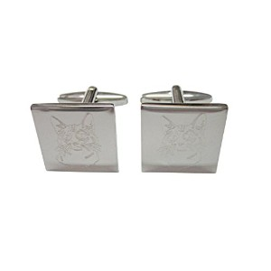 Silver Toned Etched Cat Head Cufflinks