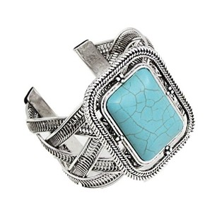 gd-turquoise SquareターコイズシルバーCuff brcaceletsワイドバングルブレスレットExpandable Bracelet Metal Indian
