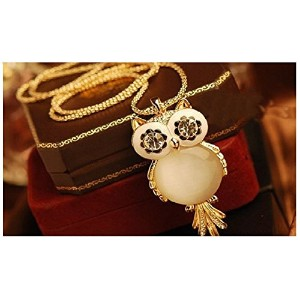 18K Gold Plated Long Chain Crystal Owl Necklace Gem Cubic Zircon Pendant Necklace
