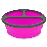 Smart Planet EC-34R3 3-Compartment Collapsible Silicone Eco Meal Kit on The Go with Spork, Pink ...