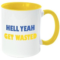 """Rikki Knight """" Hell yeah-get wasted-funny引用符イエローハンドルと内側デザイン""""セラミックコーヒーマグカップ、11オンス、イエロー"""