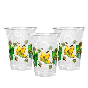 Party Essentials Soft Plastic Printed Party Cups, 12-Ounce, Fiesta, 20-Count
