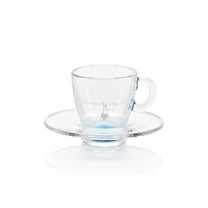 Bialetti Radiance Glass Espresso Cup with Saucer, 2-Ounce, Blue