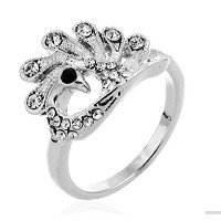 18K White Gold Plated Peacock-shaped Crystal Ring-16,18 (18)