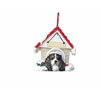 Cavalier King Charles Spaniel Black Doghouse Christmas Ornament