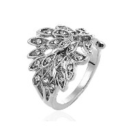 18K White Gold Plated White Feather-shaped Crystal Ring-16,18 (18)