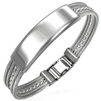 Stainless Steel Silver-Tone Twisted Cable Name Tag Mens Bracelet