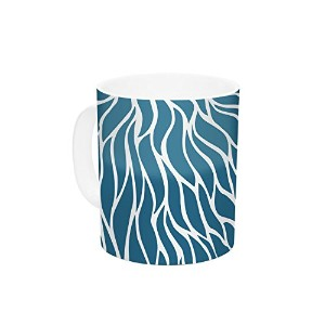 Kess InHouse NL Designs Swirls Teal Blue Teal Ceramic Coffee Mug, 11 oz, Multicolor