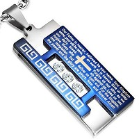 Stainless Steel Silver-Tone Blue Cross Lord's Prayer English Necklace