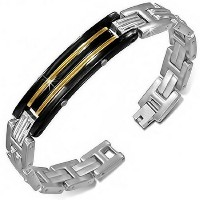 Stainless Steel Silver Black Yellow Gold-Tone Mens Link Chain Bracelet with Clasp