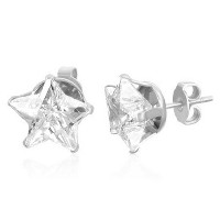 Stainless Steel Clear White CZ Star-Shaped Womens Girls Stud Earrings