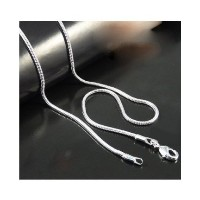 Silver Plated Snake Chain Necklace For Mens