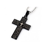 Stainless Steel Bead Chain Holy Bible Cross Pendant Necklace