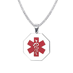 "PF : ""Free Engraving Men's Medical Necklace Stainless Steel ID Necklaces Free Chain 24"""""""