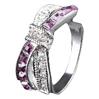 purple cz gold filled criss cross ring (Size JP: 16)