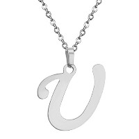 stainless steel name word is u pendants necklaces