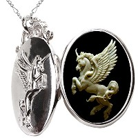 ユニコーンの写真ネックレス Unicorn Locket Necklace Photo Pendant Heart Case for Gift (ペガサス Force)