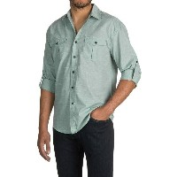 ブルーノ Bruno メンズ トップス 長袖シャツ【Space-Dyed Button-Up Shirt - Long Sleeve 】White/Stone Green