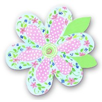 The Kids Room Whimsical Die Cut Wall Plaque, Blue Floral and Pink Polka Dot Flower by The Kids Room...