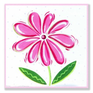 The Kids Room by Stupell Pink Daisy with Small Polka Dots Square Wall Plaque by The Kids Room by...
