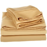 1500 Thread Count Egyptian Cotton Solid Sheet Set Color: Gold, Size: Queen by Simple Luxury [並行輸入品]