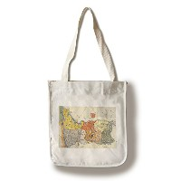 North and South Korea – パノラマMap Canvas Tote Bag LANT-19893-TT