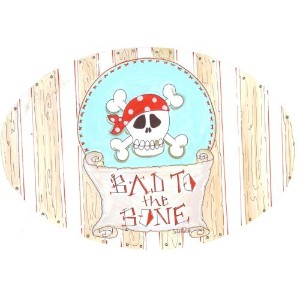 The Kids Room by Stupell Bad to the Bone with Skull Oval Wall Plaque by The Kids Room by Stupell