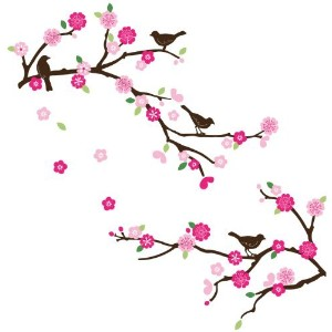Cherry Blossom and Blue Birds Decorative Peel and Stick Wall Sticker Decals by FL