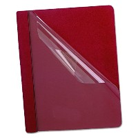 """Coated Paper Report Cover, Tang Clip, Letter, 1/2"""" Capacity, Clear/Red, 25/Box (並行輸入品)"""