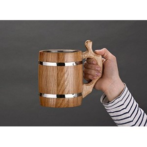 Handmade Wooden Decorative Beer Mug with Metal Inside 600 ml Great Gift Ideas by MadeHeart | Buy...