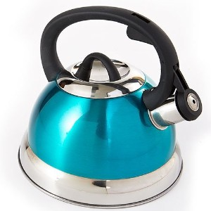 Whistling Tea Kettle in Shiny Metallic Teal- 2.5qt. by Kitchen Works