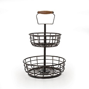 Gourmet Basics by Mikasa Adjustable 2-Tier Basket, Antique Black by Gourmet Basics by Mikasa [並行輸入品]