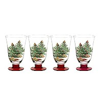 Spode Christmas Tree Glass Footed All Purpose Glasses with Red Stem, Set of 4 by Spode
