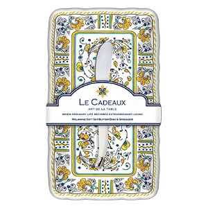 Le Cadeaux Roosterバターディッシュ& Laguiole spreaderギフトセット、イエロー