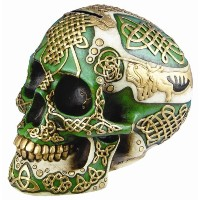 Figurine Celtic Lion Skull Bank Hand Painted Resin 6411 by DLEG [並行輸入品]