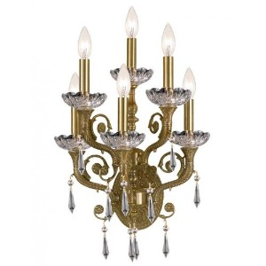 Crystorama Lighting 5176-AG-CL-SAQ Wall Sconce with Swarovski Spectra Crystals, Aged Brass by...