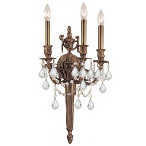 Crystorama Lighting 753-MB-CL-SAQ Wall Sconce with Swarovski Spectra Crystals, Matte Brass by...
