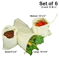Simple Ecology Organic Cotton Muslin Produce Bag - Set of 6 (2 each of Lg., Med. & Sm.) by Simple...