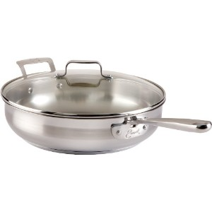 Emeril by All-Clad E88482 Chef's Stainless Steel Saute Pan with Lid Cookware, 5-Quart, Silver by T...