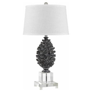 Cal Lighting Cone Resin Table Lamp with Crystal Base, 30, Pine by Cal