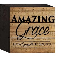 Amazing Grace On Faded音楽シート5x 5木製Plankデザイン壁ボックスSign